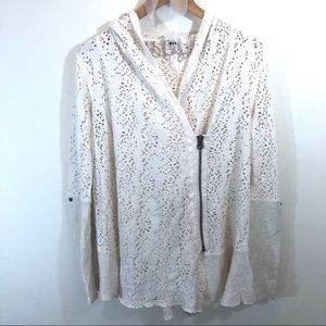 Free People Doily Cardigan XS asymmetrical zip